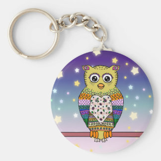 Cute Colorful Owl on star lit night Keychain