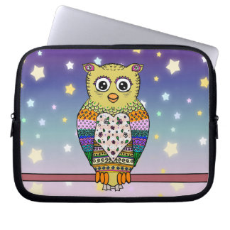 Cute Colorful Owl on star lit night Laptop Computer Sleeves