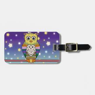 Cute Colorful Owl on star lit night Luggage Tag