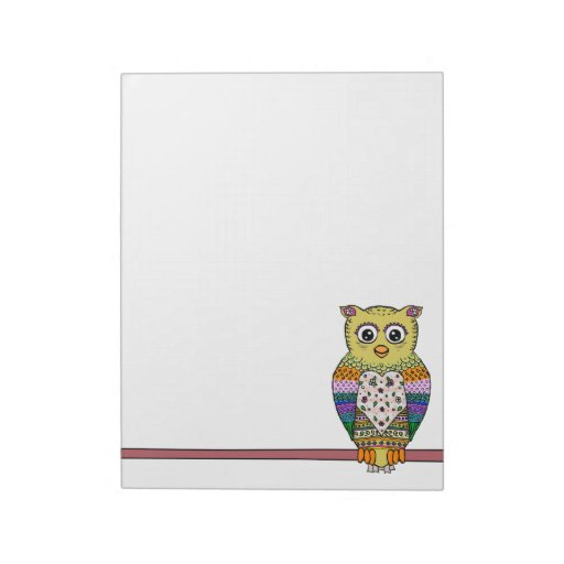 Cute Colorful Owl on star lit night Memo Note Pads