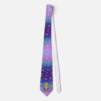 Cute Colorful Owl on star lit night Neck Tie
