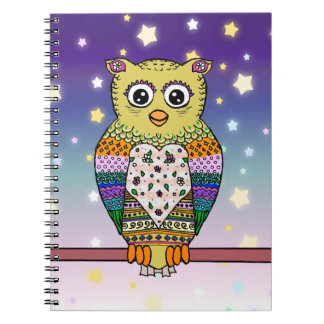 Cute Colorful Owl on star lit night Notebook