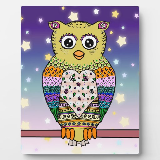 Cute Colorful Owl on star lit night Photo Plaque