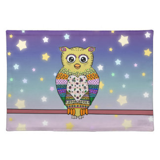Cute Colorful Owl on star lit night Placemat