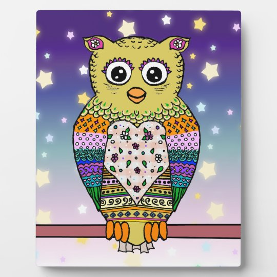 Cute Colorful Owl on star lit night Plaque