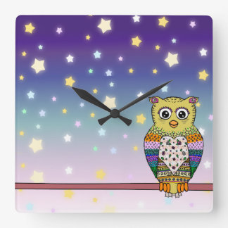 Cute Colorful Owl on star lit night Square Wall Clock