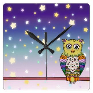 Cute Colorful Owl on star lit night Square Wall Clocks