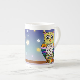 Cute Colorful Owl on star lit night Tea Cup