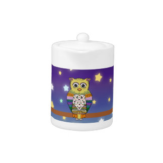Cute Colorful Owl on star lit night Teapot