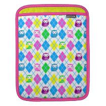 Cute Colorful Owl Pattern Argyle iPad Sleeve