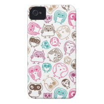 Cute colorful owl pattern in pink and blue iPhone 4 case