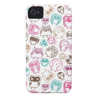 Cute colorful owl pattern in pink and blue iPhone 4 Case-Mate case