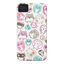 Cute colorful owl pattern in pink and blue iPhone 4 cover
