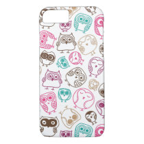 Cute colorful owl pattern in pink and blue iPhone 7 case