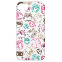 Cute colorful owl pattern in pink and blue iPhone SE/5/5s case