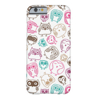 Cute colorful owl pattern in pink and blue iPhone 6 case