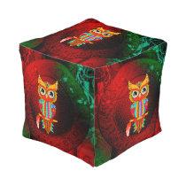 Cute colorful  owl pouf