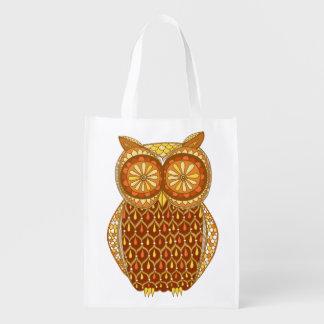Cute Colorful Owl Reusable Bag - Retro Owl Art! Market Tote