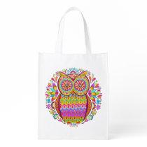Cute Colorful Owl Reusable Bag - Retro Owl Art! Market Totes