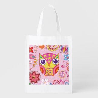 Cute Colorful Owl Reusable Bag - Retro Owl Art! Reusable Grocery Bag