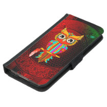 Cute colorful  owl samsung galaxy s5 wallet case