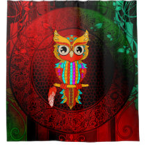 Cute colorful  owl shower curtain