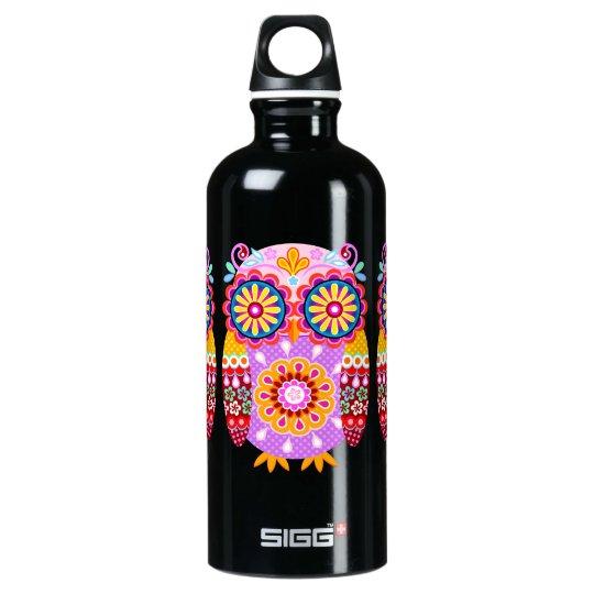 Cute Colorful Owl - Tribal Folk Art Water Bottle