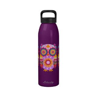 Cute Colorful Owl Water Bottle - Tribal Folk Art