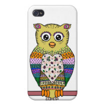 Cute Colorful Owl - white Case For iPhone 4