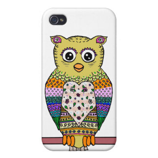Cute Colorful Owl - white iPhone 4/4S Case