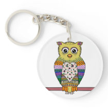 Cute Colorful Owl - white Keychain