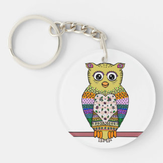 Cute Colorful Owl - white Keychains