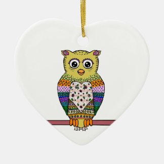 Cute Colorful Owl - white Double-Sided Heart Ceramic Christmas Ornament