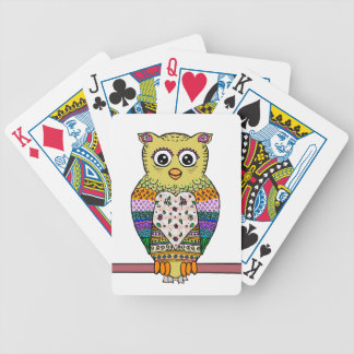 Cute Colorful Owl - white Poker Deck