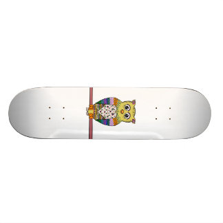 Cute Colorful Owl - white Skateboard Deck