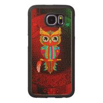 Cute colorful  owl wood phone case