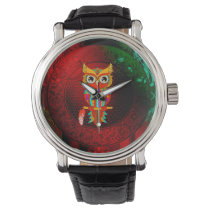 Cute colorful  owl wristwatch
