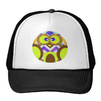 Cute Colorful Owl Yellow Blue Brown Apparel Trucker Hat