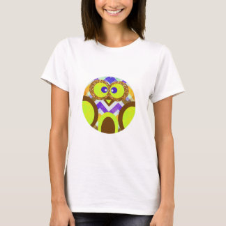 Cute Colorful Owl Yellow Blue Brown Apparel T-Shirt