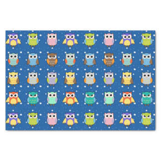 "Cute Colorful Owls and Stars 10"" X 15"" Tissue Paper"