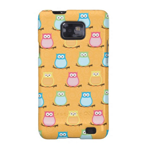 Cute Colorful Owls Android Phone Case - Orange Galaxy SII Cover