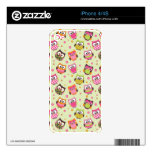 Cute Colorful Owls iPhone4 Skin (lime) Skins For The iPhone 4