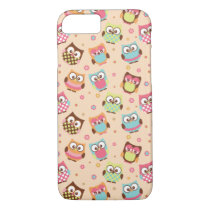 Cute Colorful Owls iPhone 7 case (pale apricot)