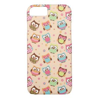 Cute Colorful Owls iPhone 7 case (pale apricot)