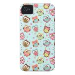 Cute Colorful Owls iPhone Case (light blue) iPhone 4 Case-Mate Case