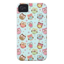 Cute Colorful Owls iPhone Case (light blue)