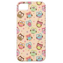 Cute Colorful Owls iPhone Case (pale apricot)