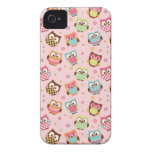 Cute Colorful Owls iPhone Case (rose) iPhone 4 Cases