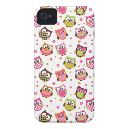 Cute Colorful Owls iPhone Case (white) iPhone 4 Cover