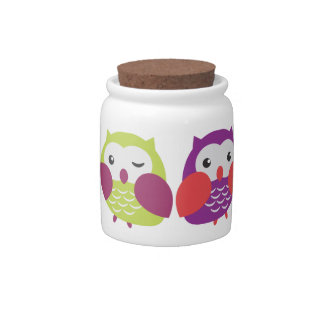 Cute Colorful Owls Jar Candy Dish